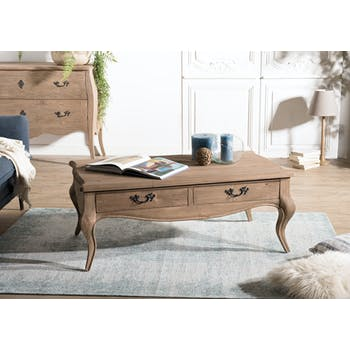 Table basse bois recyclé romantique BRUGES