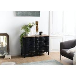 Commode noire romantique 3 tiroirs SALZBOURG