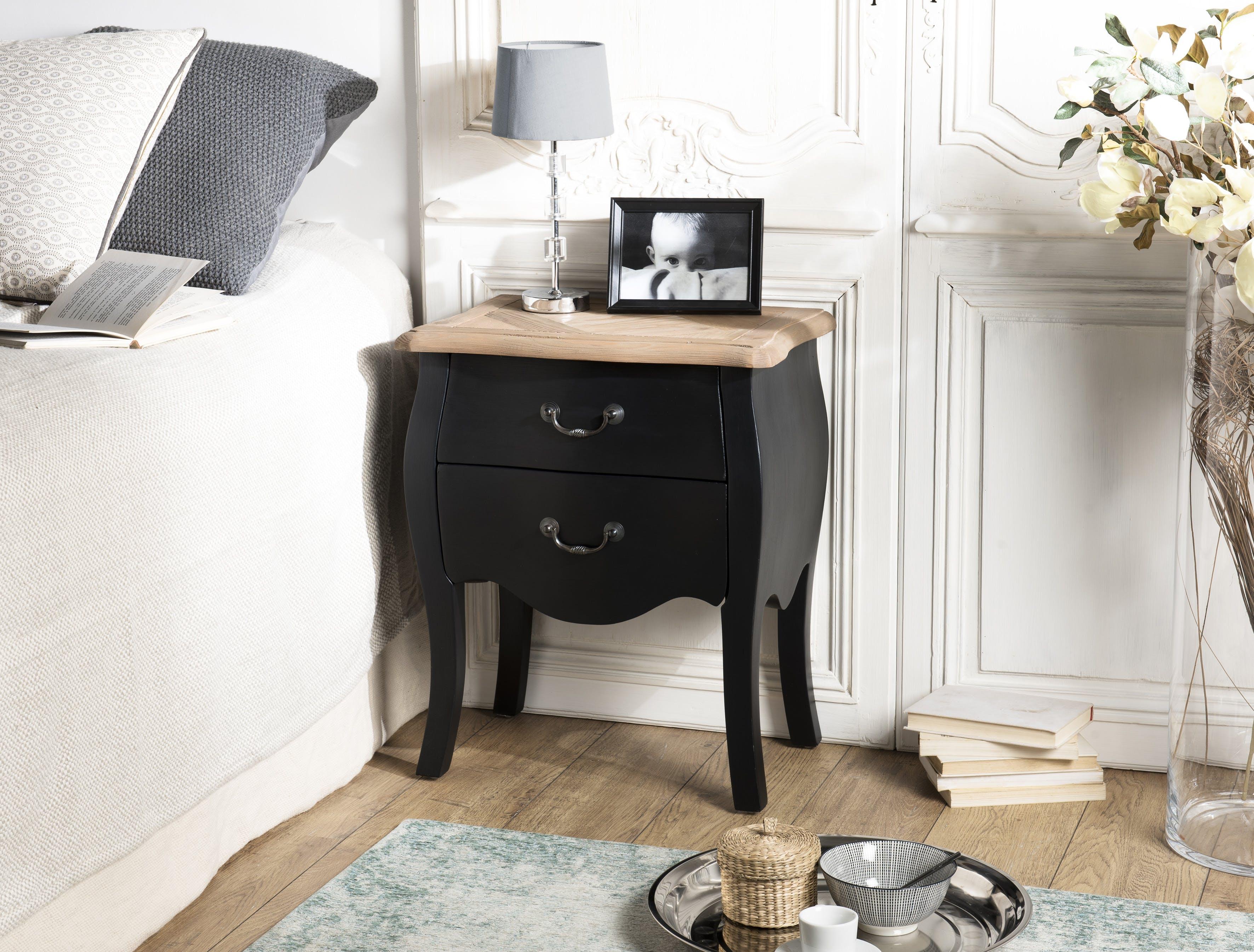 Table de chevet noire romantique 2 tiroirs SALZBOURG