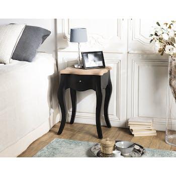 Table de chevet noire romantique 1 tiroir SALZBOURG