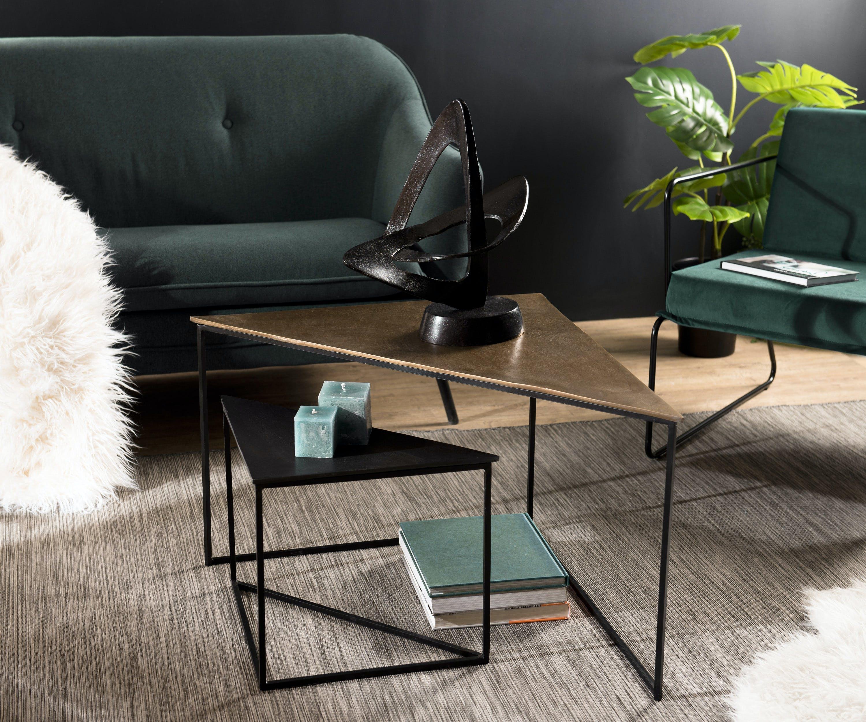 Table de salon gigogne triangle noir et or (2 pièces) ZALA
