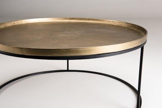 Table de salon ronde dorée ZALA