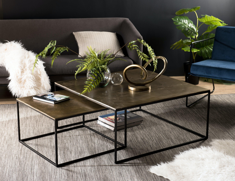 Table gigogne carrée dorée (2 pièces) ZALA