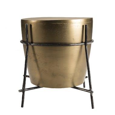 Petite table d'appoint dorée forme tambour ZALA