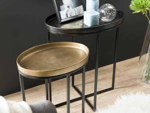 Table d'appoint ovale noir et or (lot de 2) ZALA