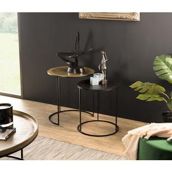 Table gigogne ronde noir et or (lot de 2) ZALA