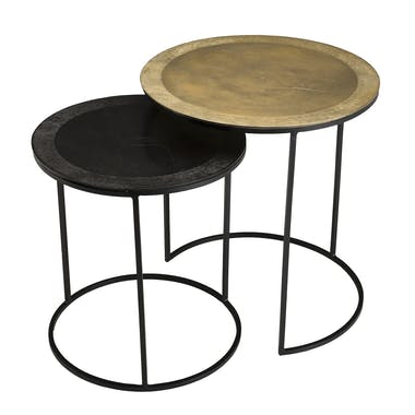 Table gigogne ronde noir et or (lot de 2) ZALA