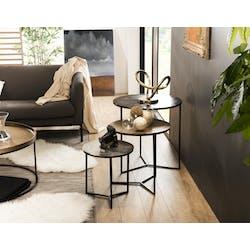 Table gigogne ronde noir or argent (lot de 3) ZALA