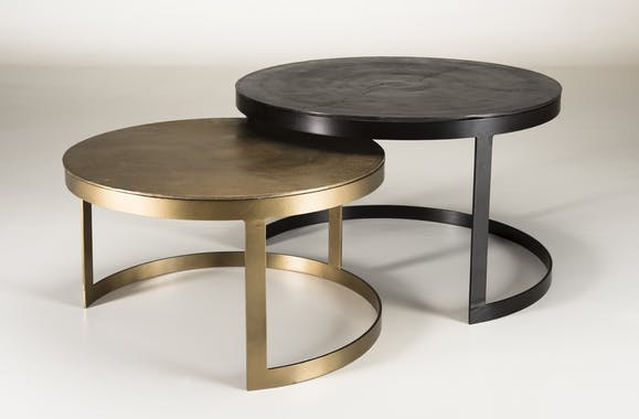 Table gigogne ronde noir et or ruban (lot de 2) ZALA