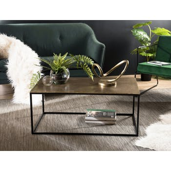 Table basse rectangulaire dorée ZALA