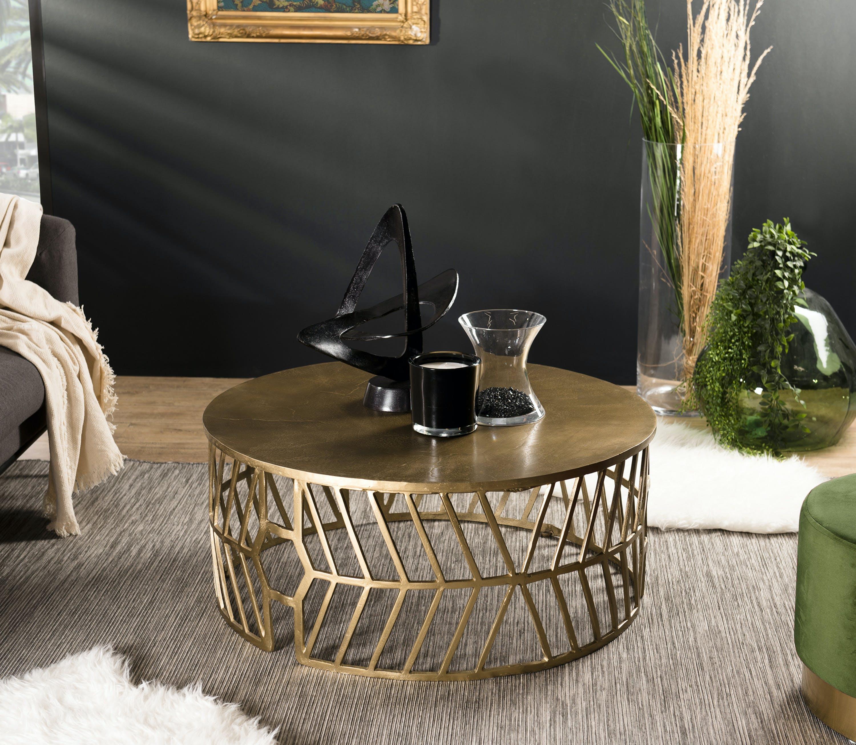 Table basse contemporaine dorée motif flèche ZALA