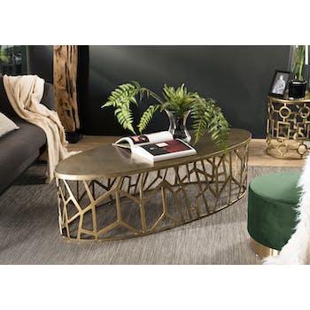 Table basse ovale contemporaine dorée ZALA