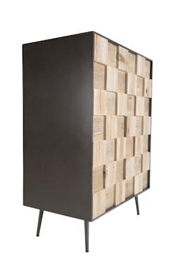 Petit meuble de rangement bois de sapin damier CARPATES