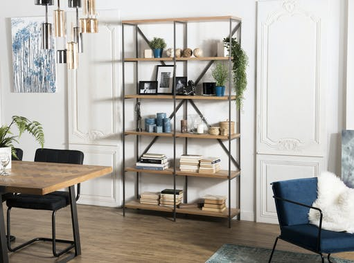 Etagère moderne bois de teck 5 niveaux CARPATES