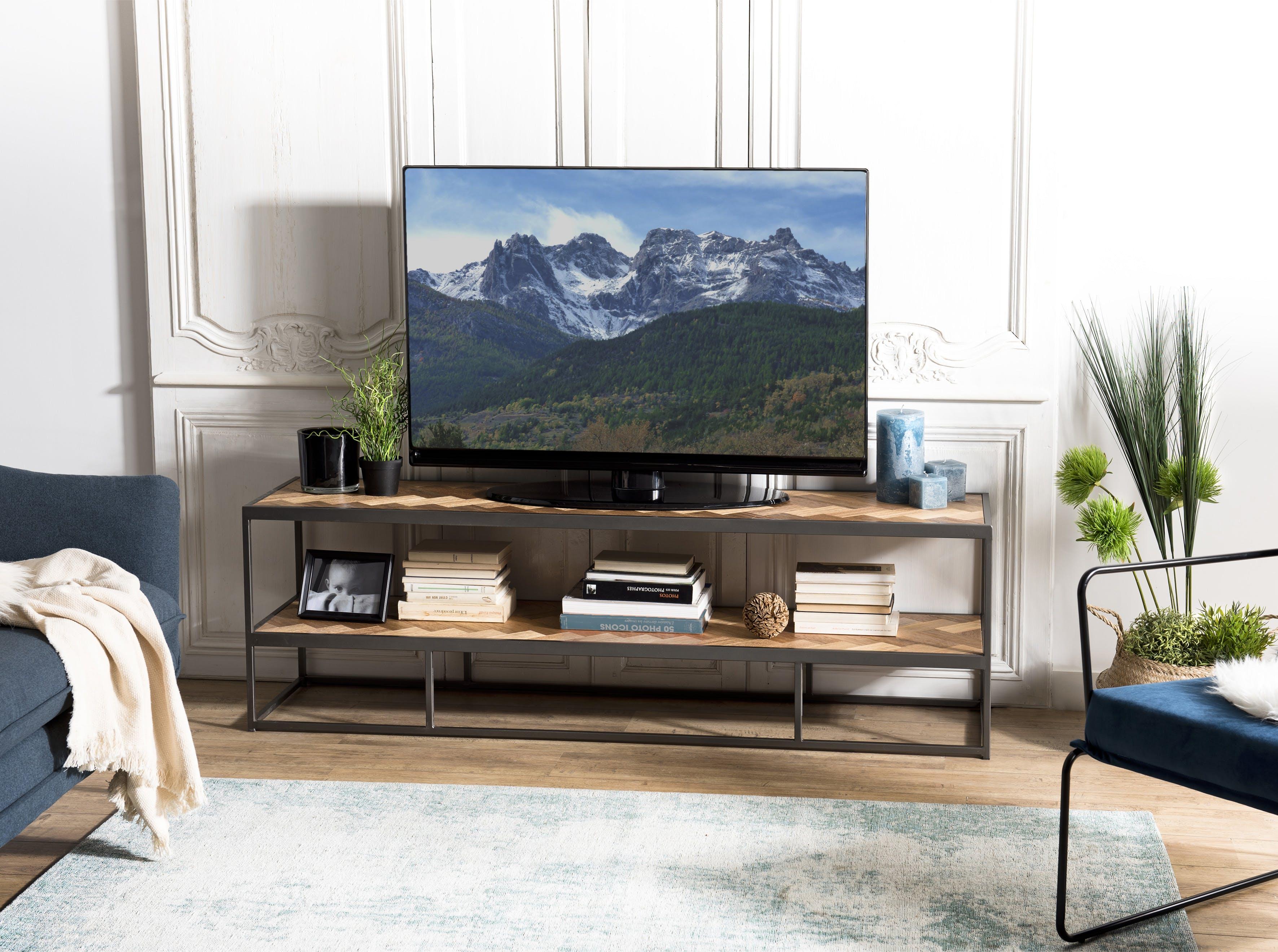 Banc tv teck motif damier 2 niveaux CARPATES