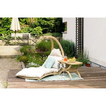 Chaise longue bois d'épicéa matelas crème SWING LOUNGER