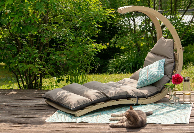 Chaise longue bois d'épicéa matelas gris SWING LOUNGER
