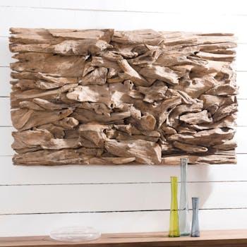 """Décoration murale en Teck """"bois flotté"""" modèle n°14 120x70x10cm POLO"""