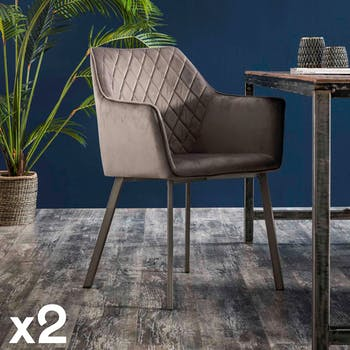 Fauteuil de table velours gris anthracite motif losange (lot de 2) MELBOURNE