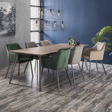 Fauteuil de table velours gris anthracite motif losange (lot de 2) MELBOURNE