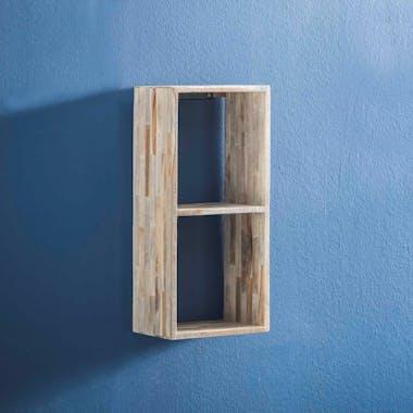 Etagère cube verticale bois de teck recyclé finition vieillie 65 cm JAVA