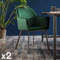 Fauteuil de table velours vert motif losange (lot de 2) MELBOURNE