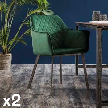 Fauteuil de table velours vert motif losange (lot de 2) MELBOURNE