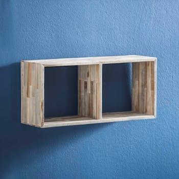 Etagère cube bois de teck recyclé finition vieillie 65 cm JAVA