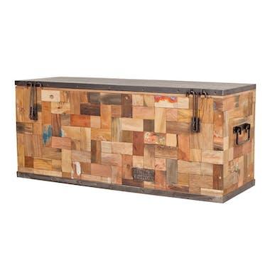 Coffre de rangement bois recyclé 100x35 CARAVELLE