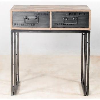 Console bois recyclé 2 tiroirs  80x40 CARAVELLE