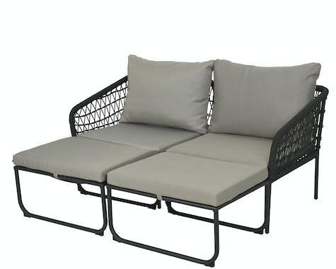 Ensemble de jardin (2 chaises + 1 table + 1 repose pieds)