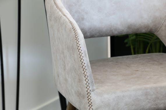 Fauteuil de table gris taupe zigzag