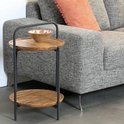 Table d'appoint ronde double plateau en bois d'acacia