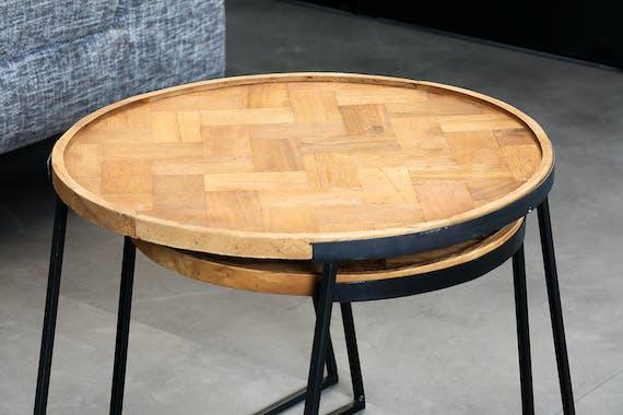 Table d'appoint gigogne en teck recyclé motif chevrons (lot de 2)