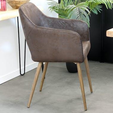 Chaise fauteuil en tissu marron façon simili