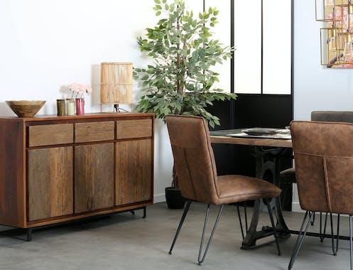 Chaise marron capitonnée salle à manger