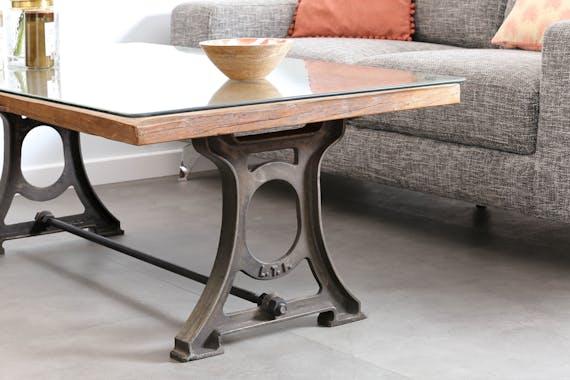 Table basse industrielle bois recyclé brut plaque verre KOURSK
