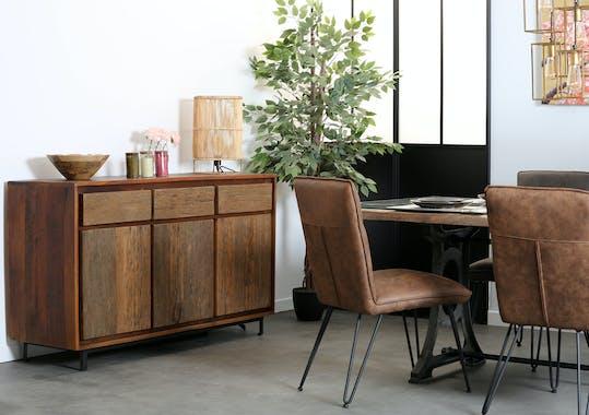 Buffet industriel façade bois recyclé brut KOURSK