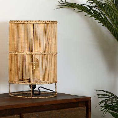 Lampe Cylindre en métal filaire ajouré couleur naturelle D25xH40cm
