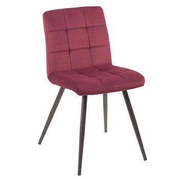 Chaise en velours capitonné rouge bordeaux MALMOE (lot de 2)