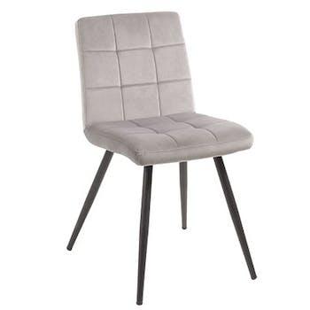 Chaise en velours capitonné gris MALMOE (lot de 2)