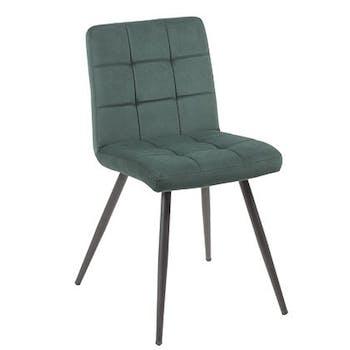 Chaise en velours capitonné vert MALMOE (lot de 2)