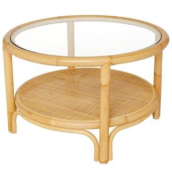 Table basse ronde rotin naturel verre RIVIERA KOK