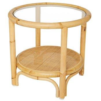 Petite table basse ronde rotin naturel verre RIVIERA KOK