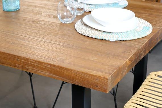 Table salle à manger bois brut teck 160-260 CANADA (avec 2 allonges)