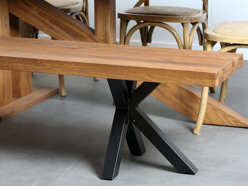Banc de table chêne massif pieds croisés 220 cm OKA ...