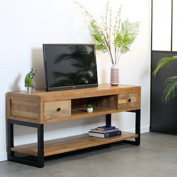 Meuble TV bois recyclé double plateau BRISBANE