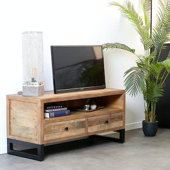 Meuble TV bois recyclé 2 tiroirs BRISBANE