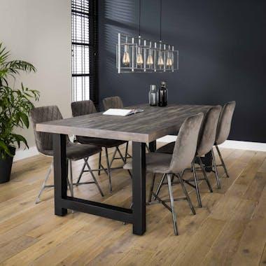 Table à manger bois recyclé grisé lamelles 165 cm TASMANIE