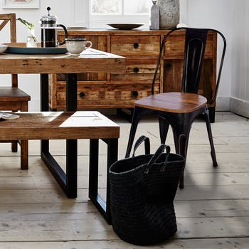 Chaise industrielle métal noir bois recyclé LEEDS (lot de 2)